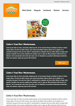 Globus newsletter template example