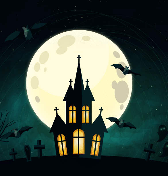 an image of a haunted house on a hill with bats flying away from it