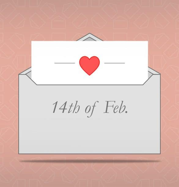 an envelope that says 14th of Feb. with a heart against a light pink background