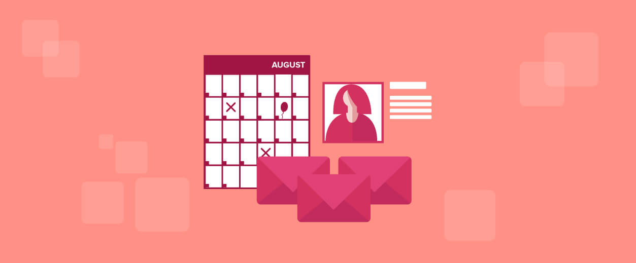 a calendar for August and envelopes and a profile