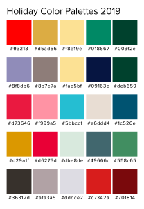 a set of 5 holiday color palettes with 5 colors each