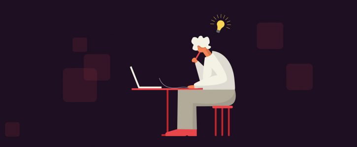 person sitting at a laptop with a lightbulb over their head showing the newsletter ideas they're generating