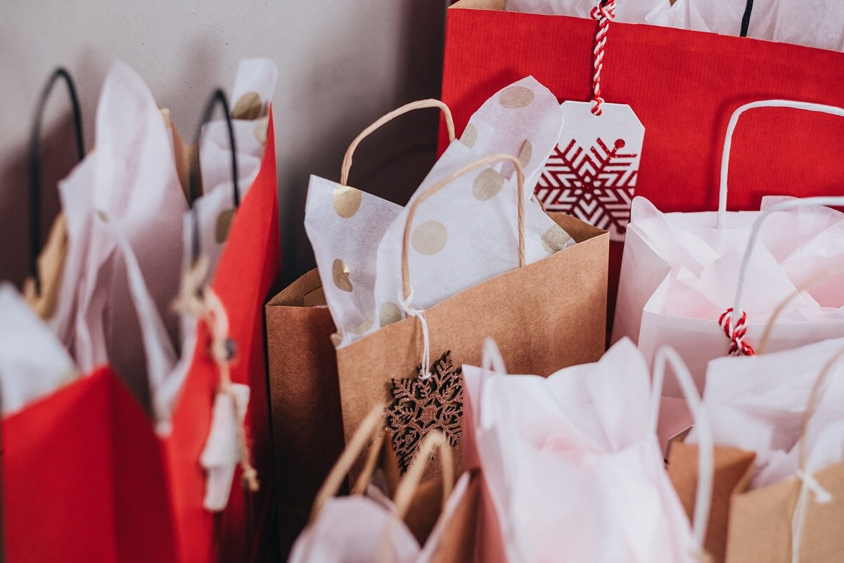 red and white paper shopping bags