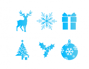 a set of 6 holidays icons reindeer, snowflake, present, christmas tree, holly, christmas bulbs