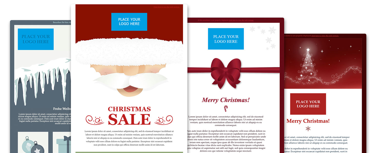 four holiday email templates with red and white color palettes