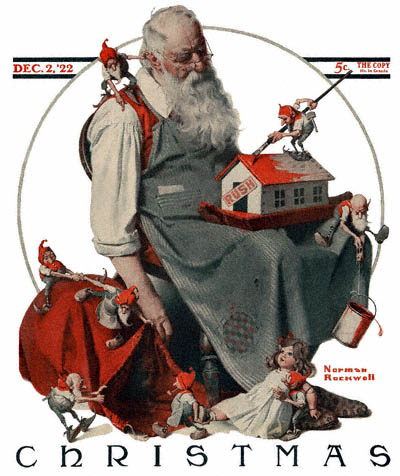 Norman Rockwell cover of the Saturday Evening Post of Santa dozing over his toys and elves helping out