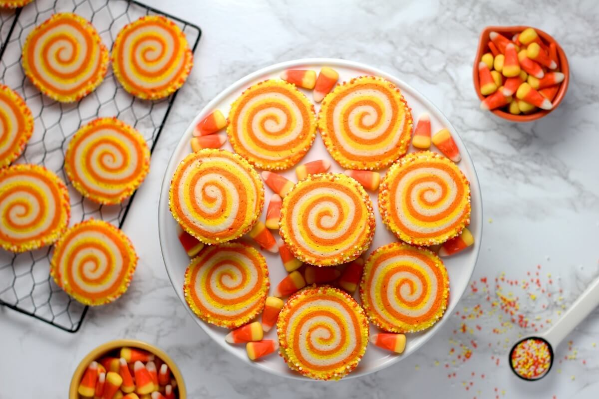candy corn spiral cookies and candy corn