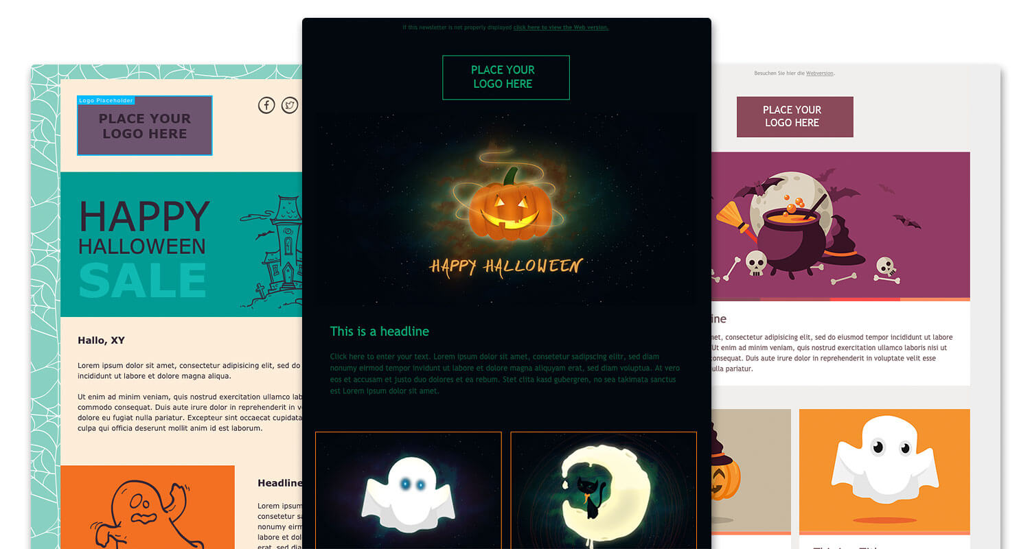 3 halloween email templates next to each other