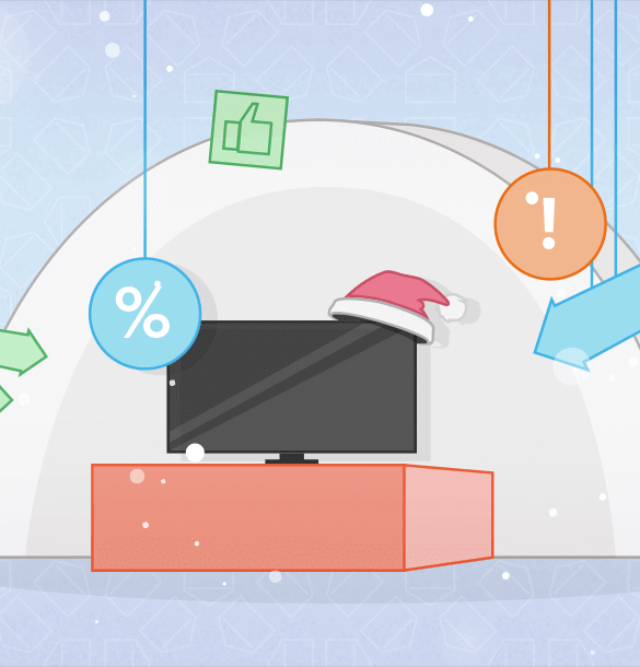 signs of Christmas and holiday ecommerce such as a television with a santa hat